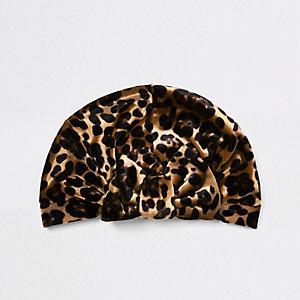 Bruine tulband met luipaardprint en strik voor meisjes