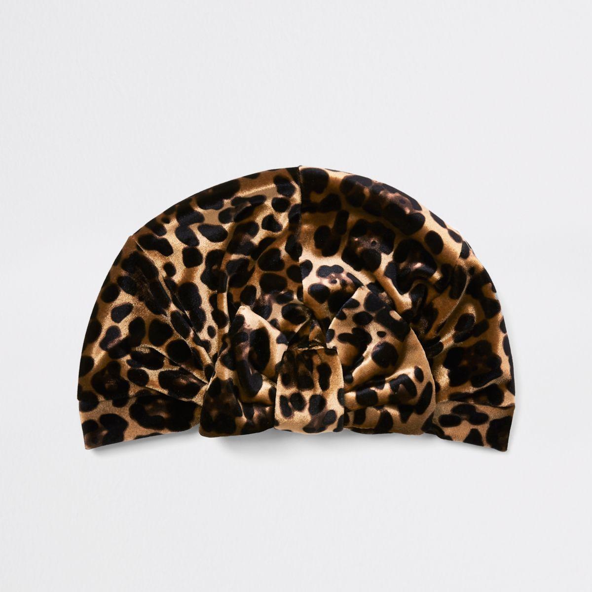Girls brown leopard print bow turban headband