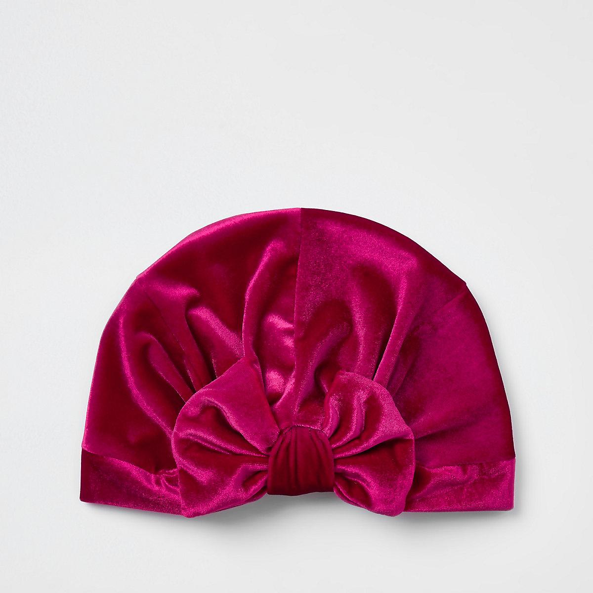 Girls pink velvet bow turban headband