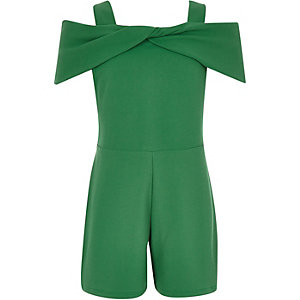 Girls green bow cold shoulder romper