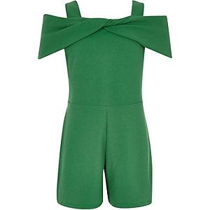 Groene schouderloze playsuit met strik voor meisjes