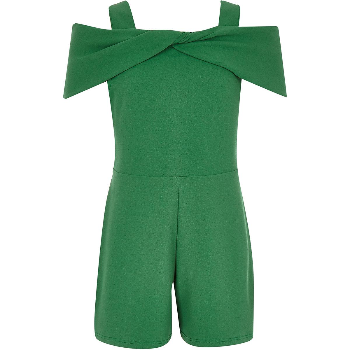 Girls green bow cold shoulder romper