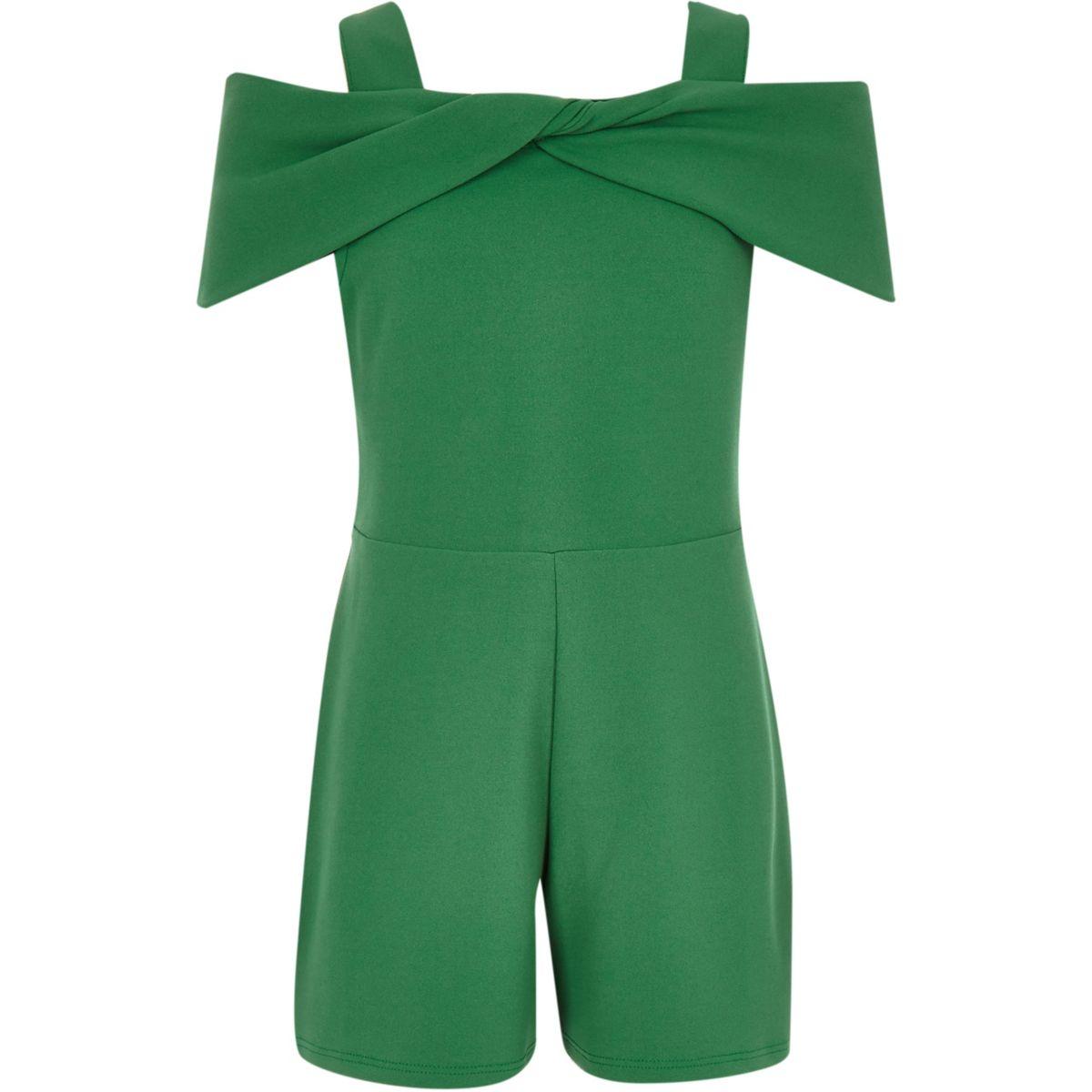 Girls green bow cold shoulder playsuit
