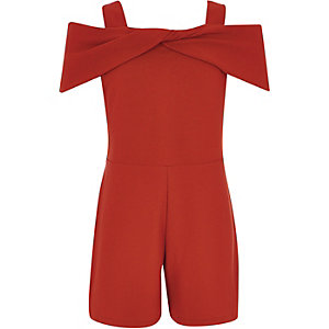 Girls red bow cold shoulder romper