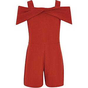 Rode schouderloze playsuit met strik voor meisjes