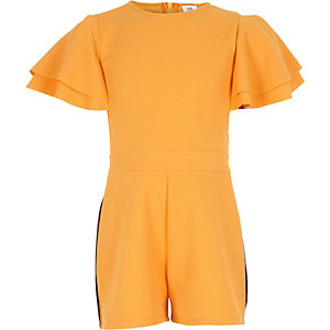 Girls yellow frill sleeve tape side romper