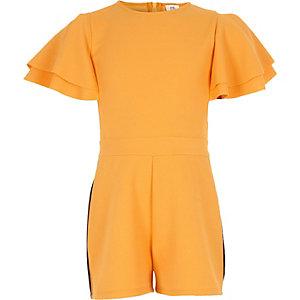 Combi-short jaune à volants avec bandes latérales pour fille