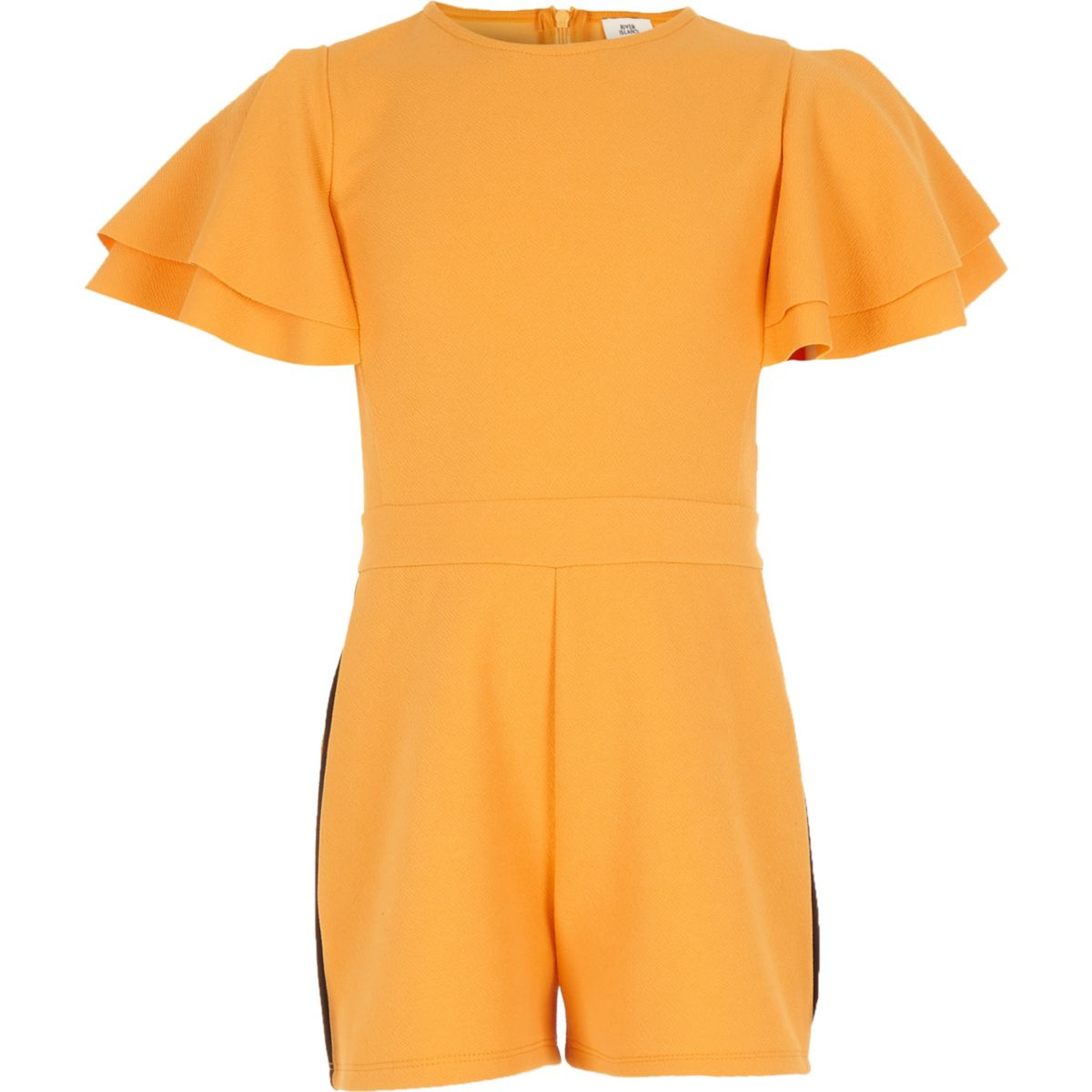 Girls yellow frill sleeve tape side playsuit