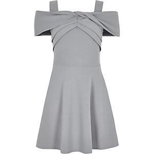 Girls grey scuba bow dress