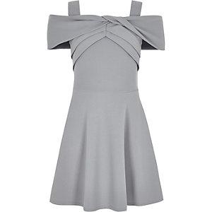 Robe en néoprène gris à nœud pour fille