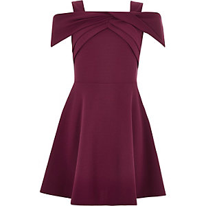 Girls dark red scuba bow dress