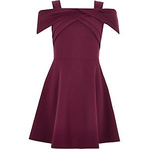 Girls dark red scuba bow dress