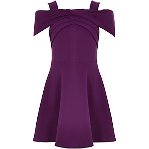 Girls purple scuba bow dress