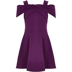 Paarse scuba jurk met strik voor meisjes