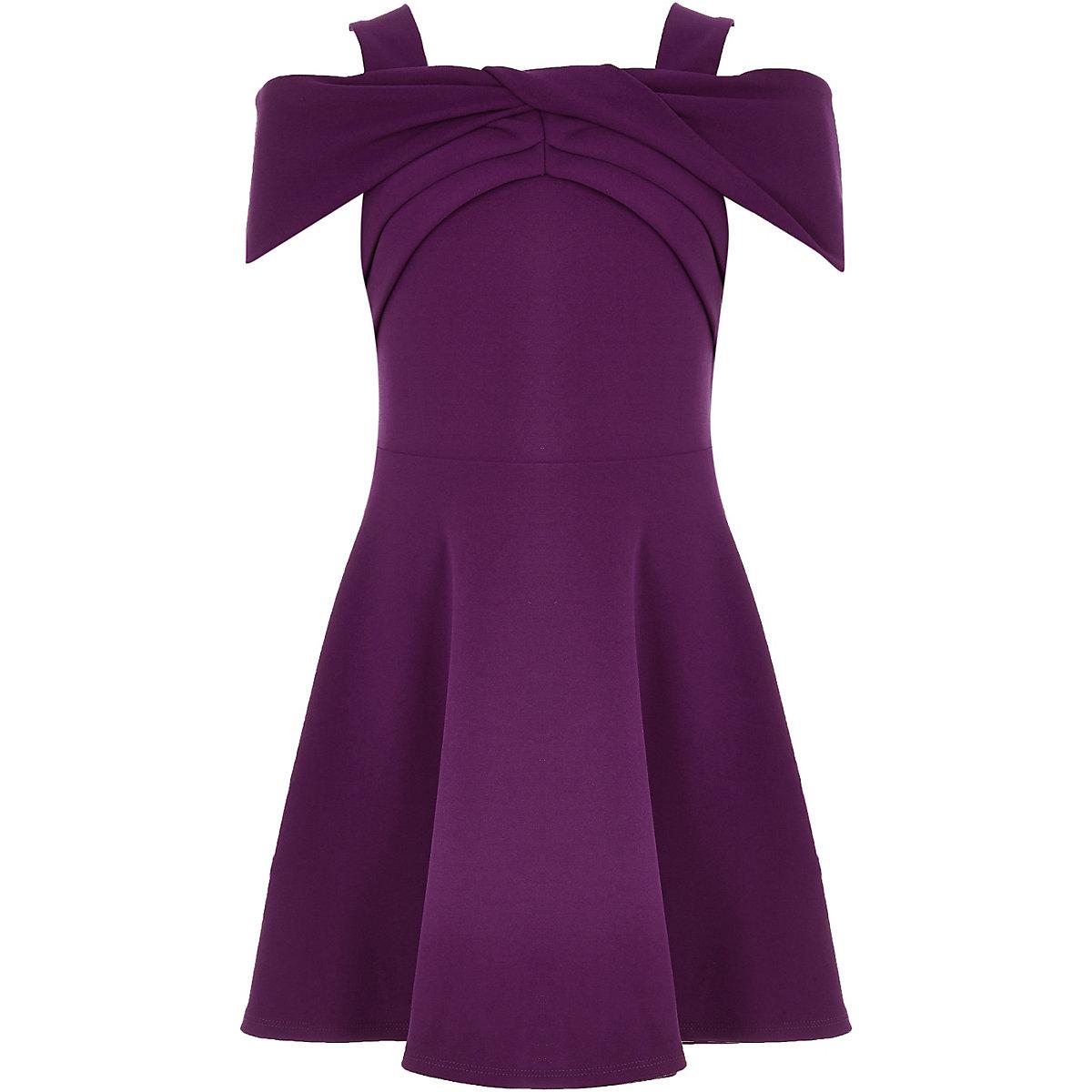 Girls purple scuba bow dress