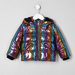 Mini girls blue rainbow hooded puffer jacket