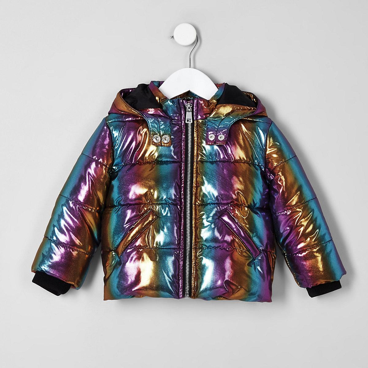 Mini girls blue rainbow hooded puffer jacket