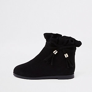 Mini girls black paperbag bow detail boots