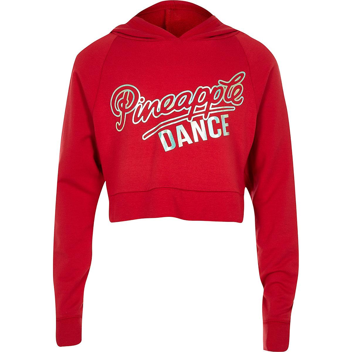 Girls red Pineapple logo print hoodie