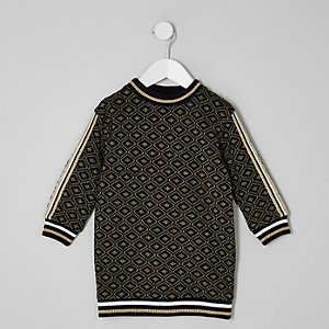 Schwarzes Sweatkleid mit Jacquard-Muster