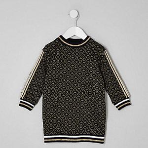 Mini - Zwarte jacquard sweaterjurk met geoprint voor meisjes