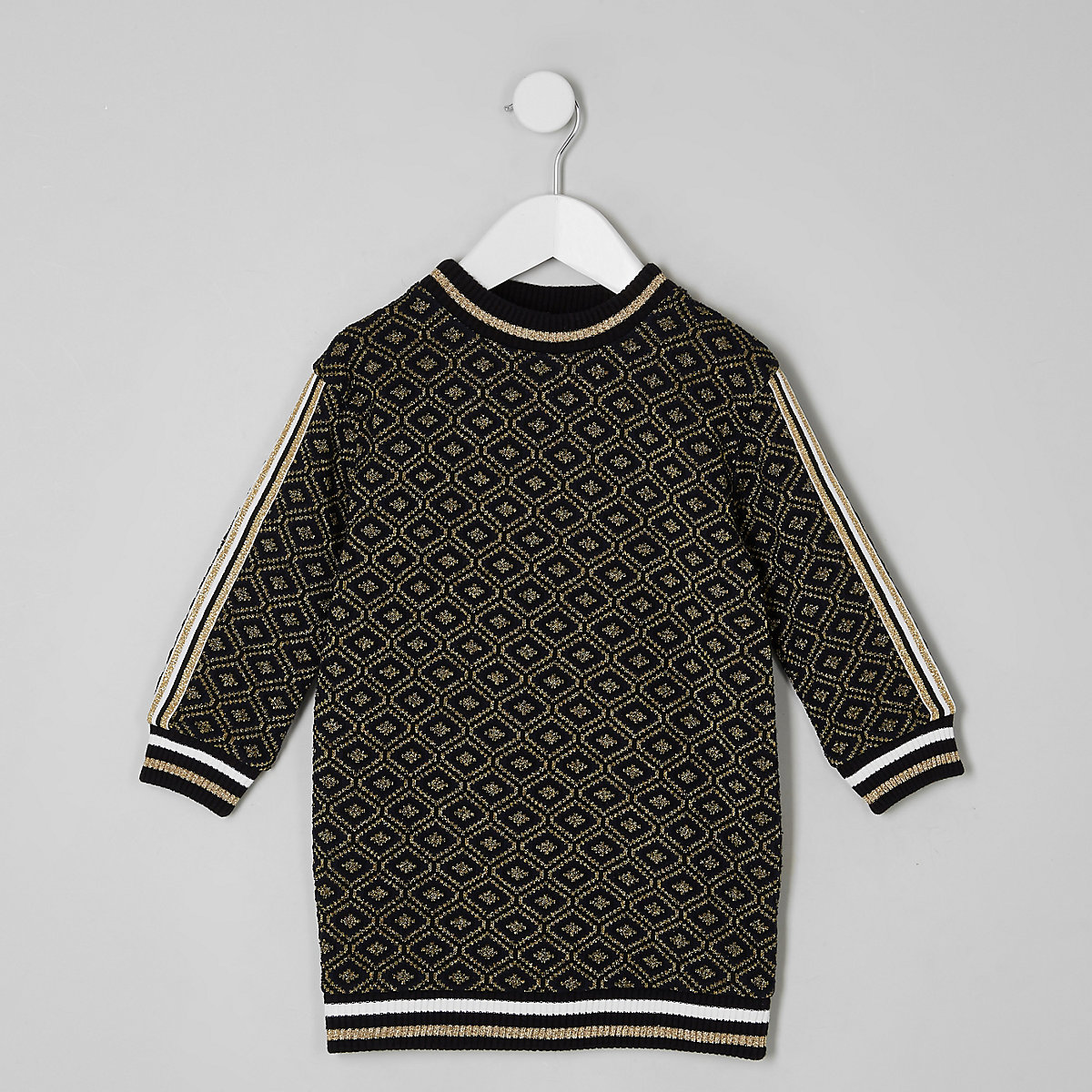Mini girls black jacquard geo sweat dress