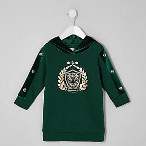 Hoodie-Kleid in Grün mit Tiger-Print