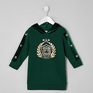 Mini girls green tiger print hoodie dress