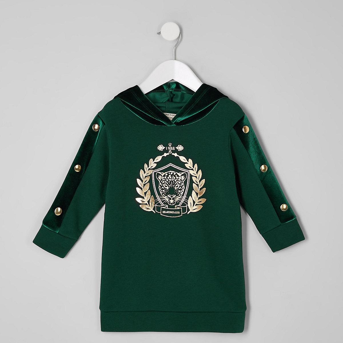 Mini girls green tiger print hoodie dress