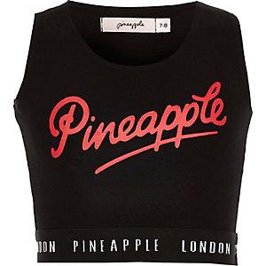 Zwarte crop top met ananasprint en logo voor meisjes