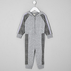 Mini girls grey check tape hooded jumpsuit