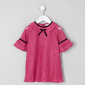 Mini girls dark pink lace bow shift dress