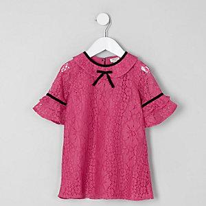 Robe droite en dentelle rose foncé à nœud mini fille
