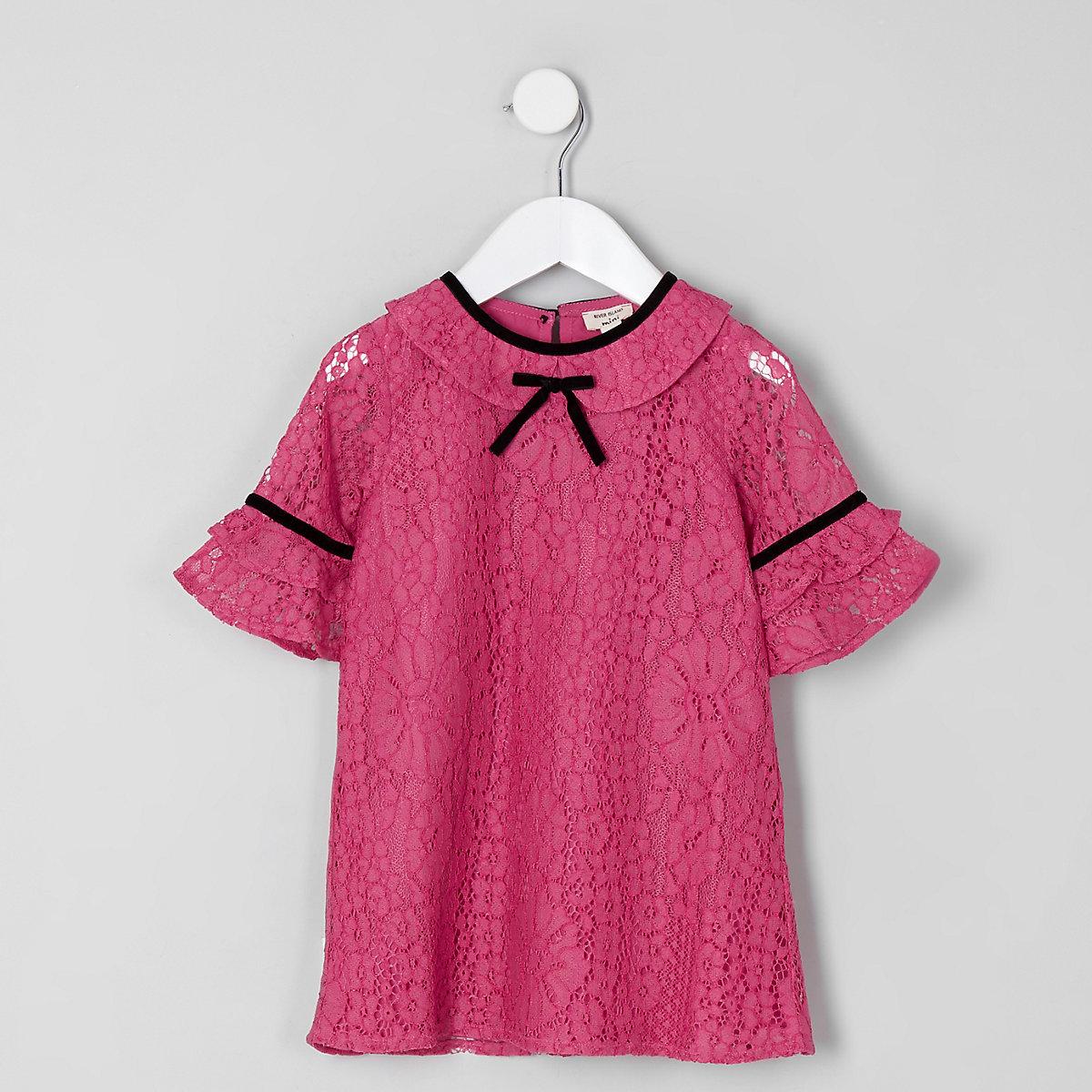 Mini girls dark pink lace bow shift dress