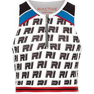 Girls RI Active white print zip crop top