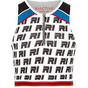 RI Active – Crop top imprimé blanc zippé pour fille