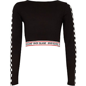 Girls black monochrome RI crop top