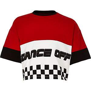 Girls red 'dance off' crop T-shirt