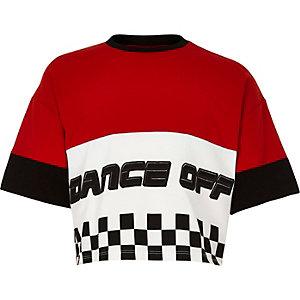 Rood cropped T-shirt met 'dance off'-print voor meisjes