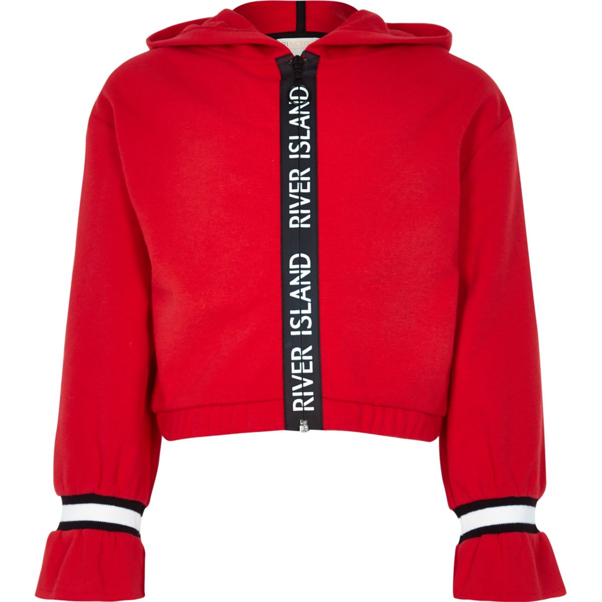Girls red RI tape trim hoodie