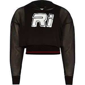Girls RI mesh cropped hoodie