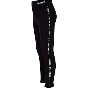 Girls black Pineapple tape leggings