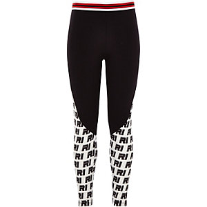 Girls black ponte RI print leggings