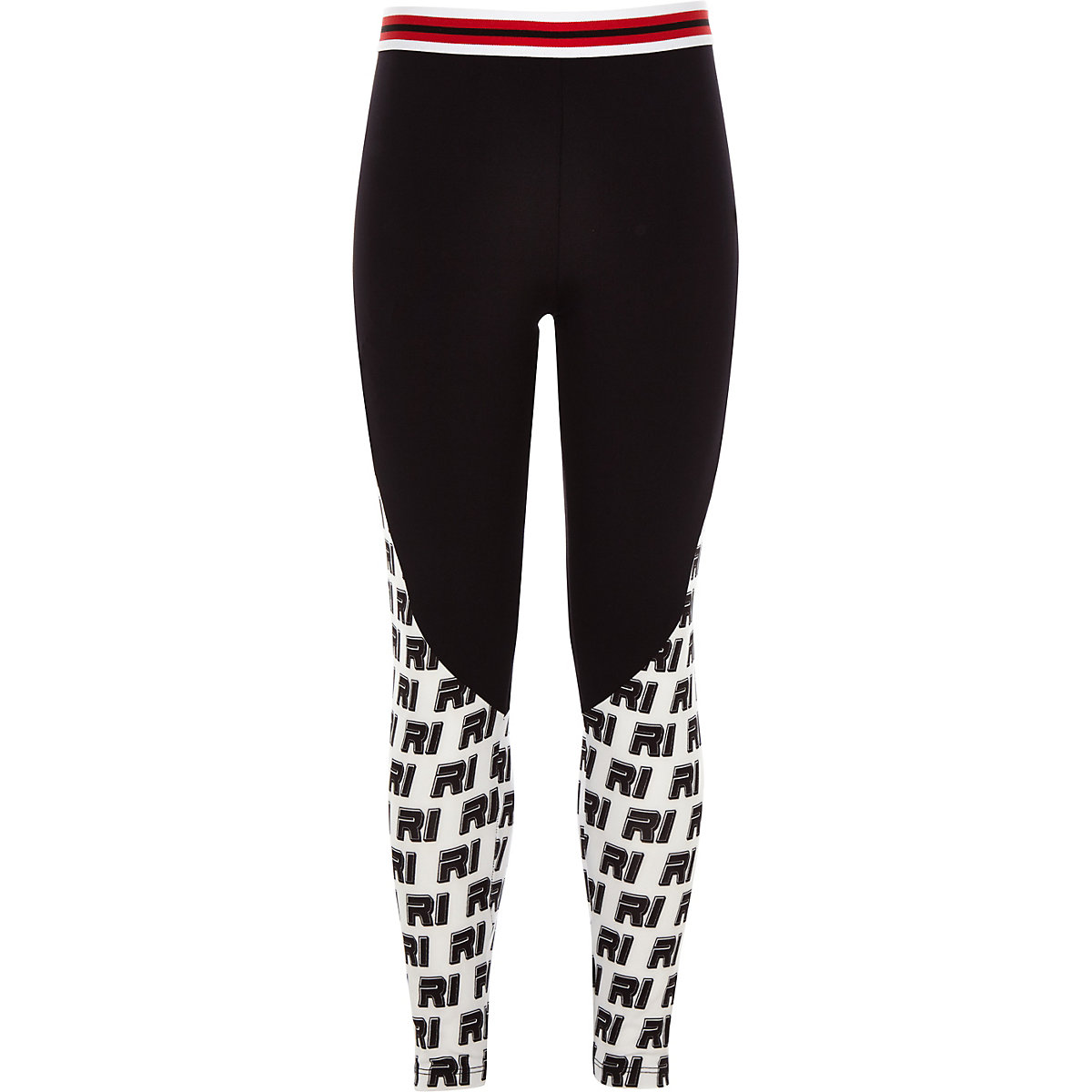 Girls RI Active black ponte print leggings