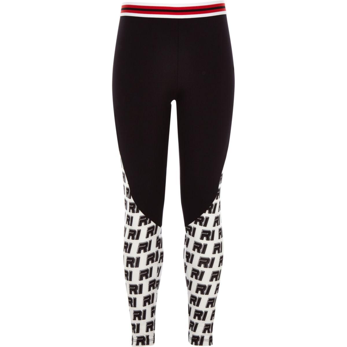 Girls black ponte RI print leggings