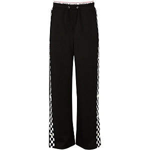 Girls black mono popper side pants