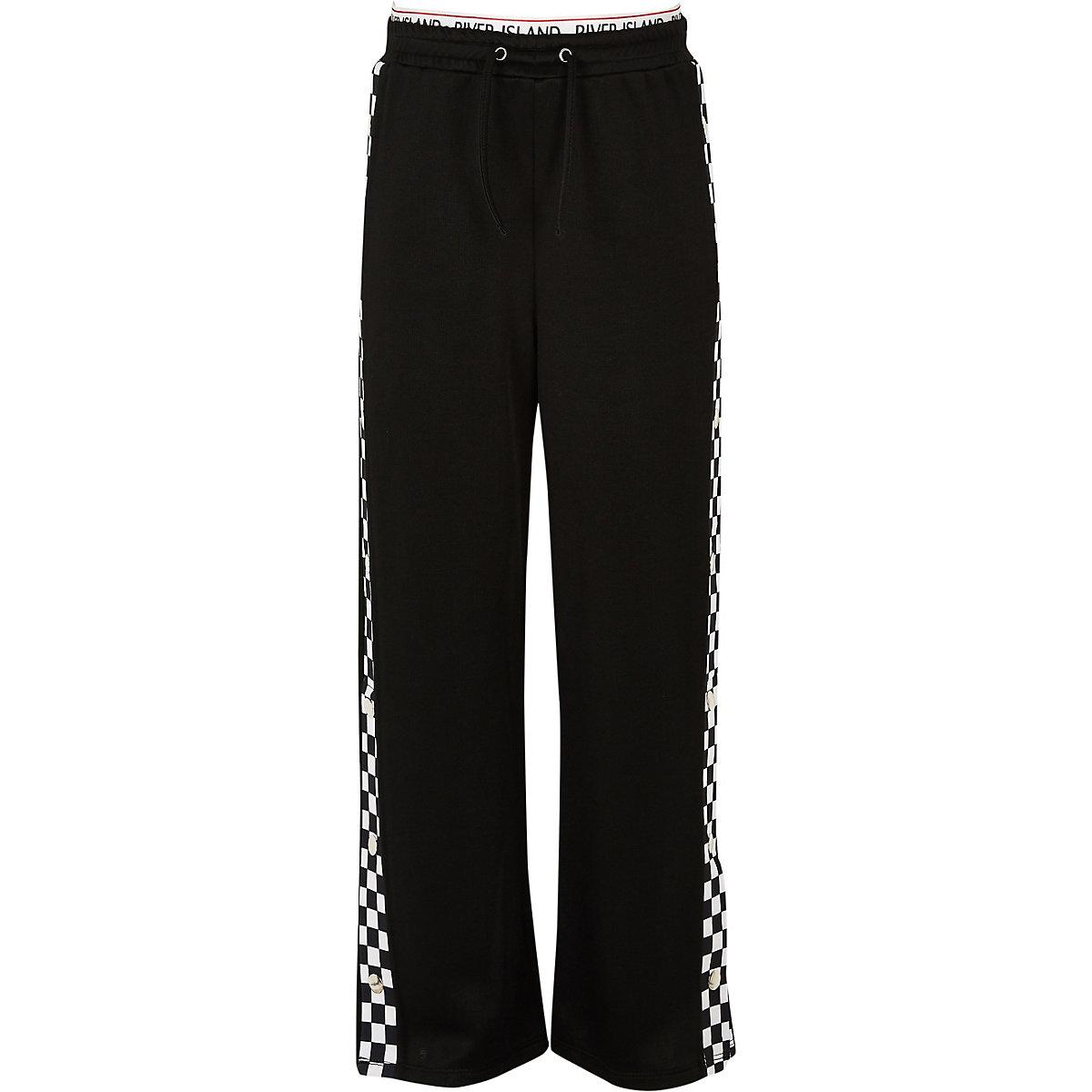 Girls black mono popper side pants