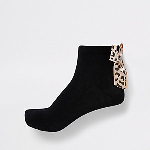 Girls black leopard bow ankle socks multipack