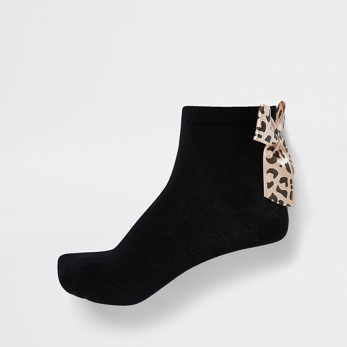 Girls black leopard bow ankle socks multipack