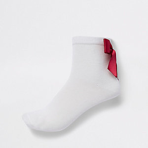 Girls red bow RI ankle socks